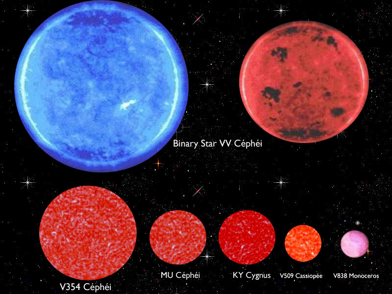The gallery for --> Vv Cephei Compared To Vy Canis Majoris