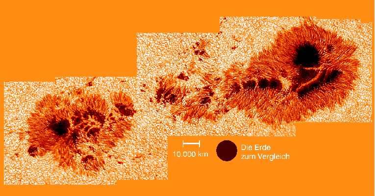 Vu d'un grand groupe de taches solaires en lumière blanche