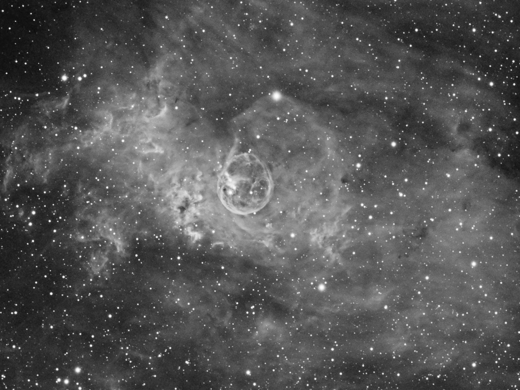 NGC7635_Ha_detail.jpg -          texto_bright    Object:NGC7635   Date:August - October 2012   Observingsite: FNO (Fosca Nit Observatory, Àger)   Telescope: TakahashiTOA-150  @ f/7.3 on EM-400 mount   Camera:SBIG STL-11000M  @ -10/-20C   Filters: Astrodon Ha (6nm)   Exposure:15 x 30 min unbinned.  Totalexposure: 7.5 h     Guiding: Camera guide chip     Software:Guide & camera control: CCDSoft. Processing: PixInsight 1.8