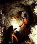 L'homme de Cro-Magnon peignant la grotte de Lascaux il y a 17000 ans. Document Smithsonian.