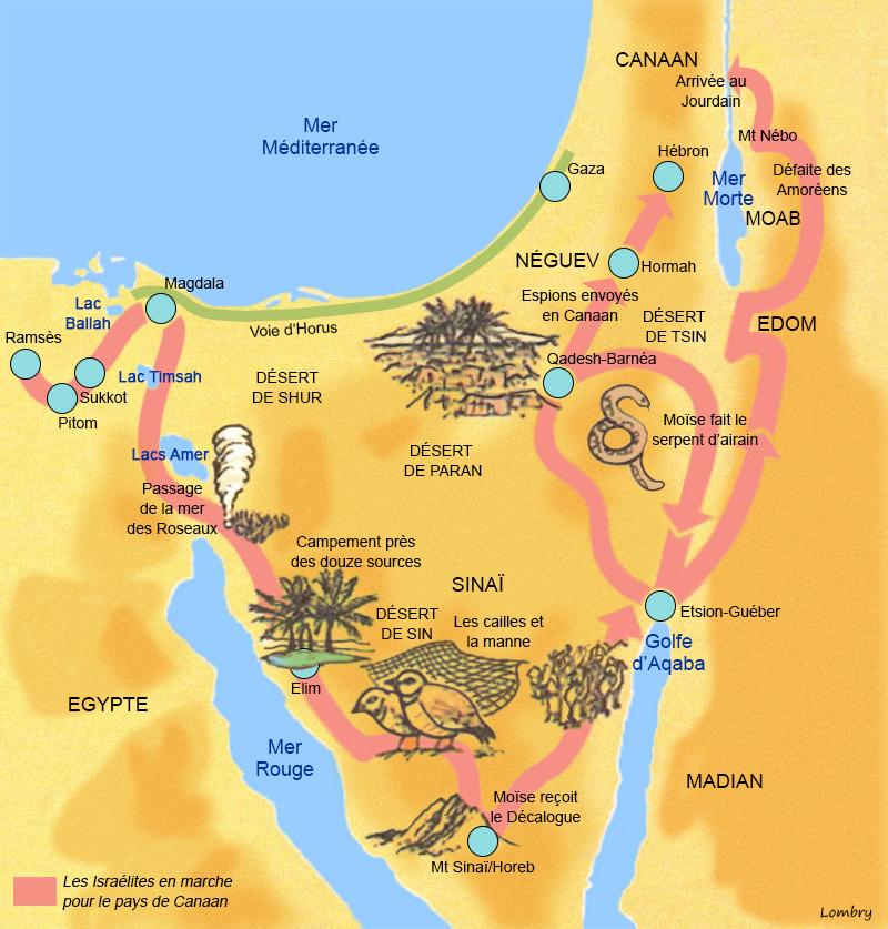 Une histoire abrégée de l`Ancien Testament – (avec images et cartes géographiques) Carte-moise-sinai-canaan