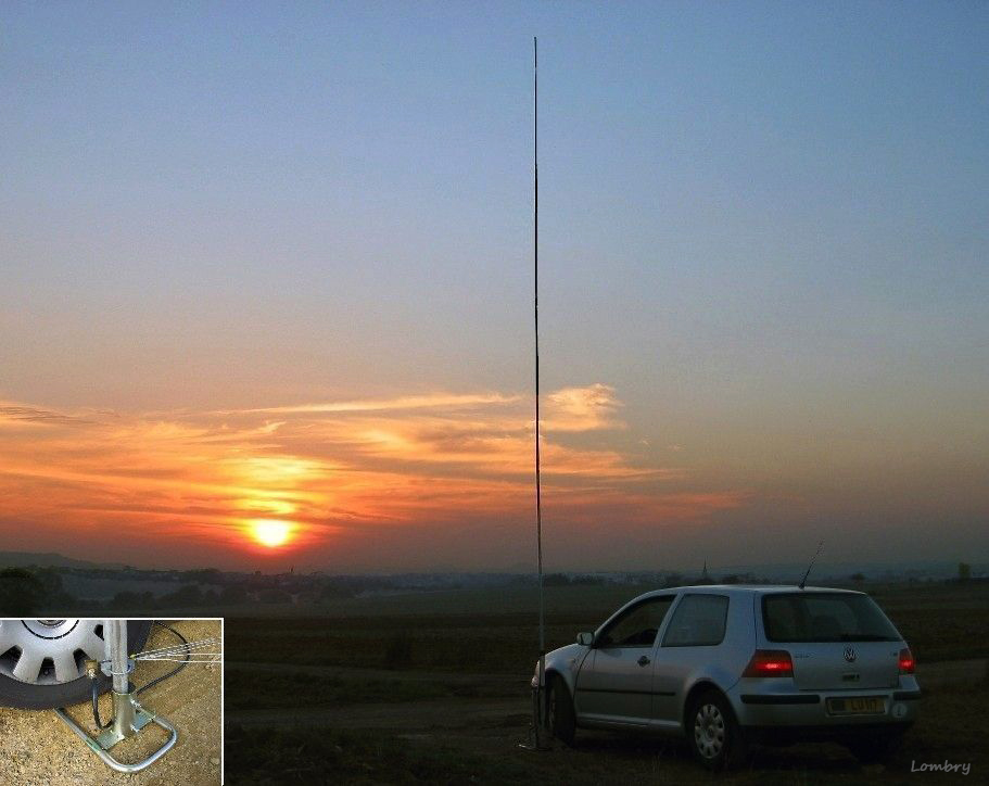 A WiMo GPM-1500 vertical antenna maintained in a steel fork fixed below the ...