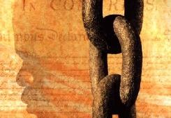 """Extrait de l'affiche du film """"Amistad"""" de S.Spielberg."""
