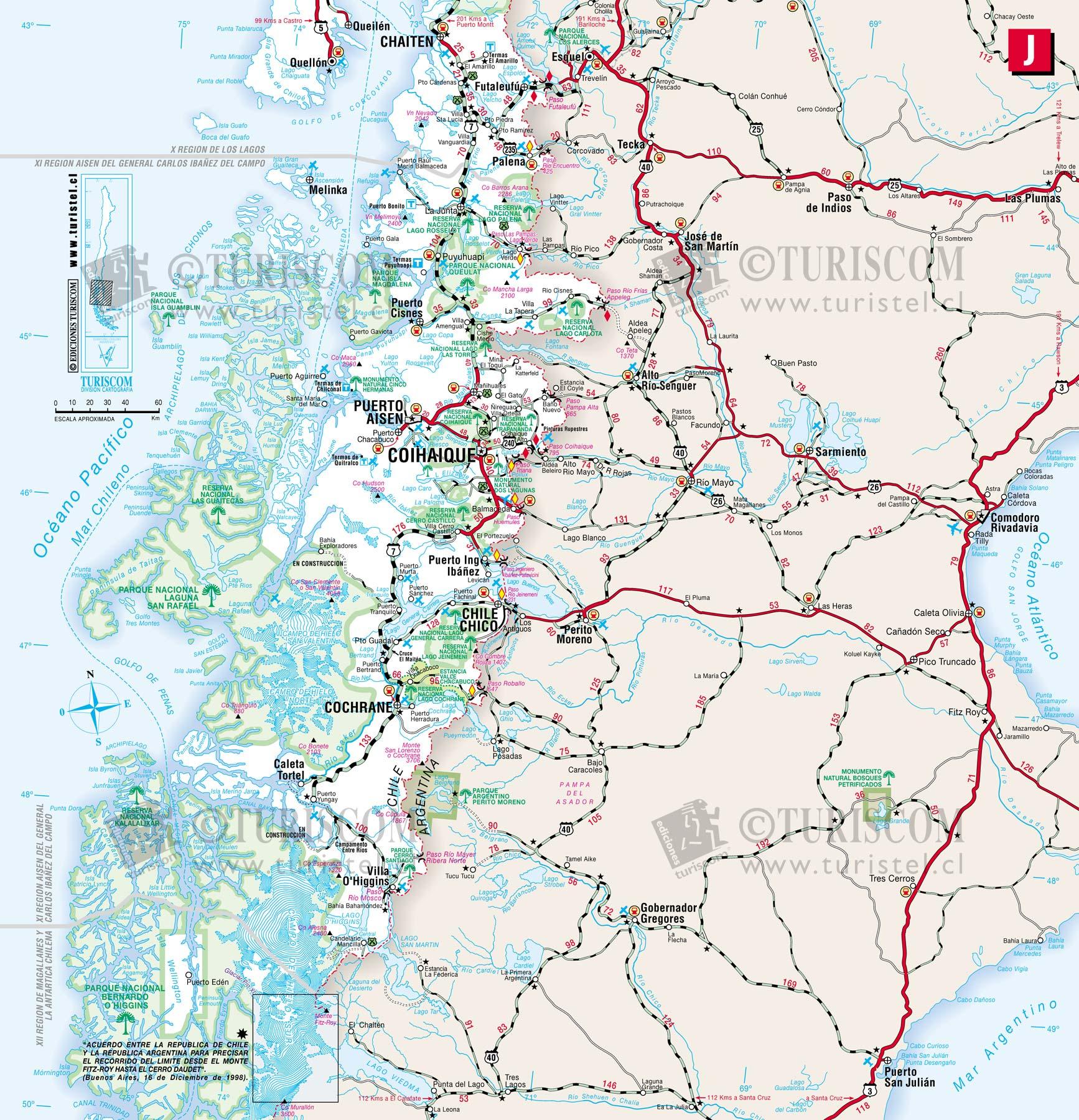 Mapa Sur De Chile.Mapas Ruteros De Chile