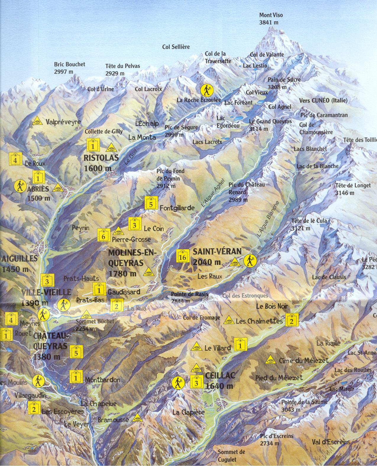 Carte Touristique Du Queyras.Cadrans Solaires Du Queyras