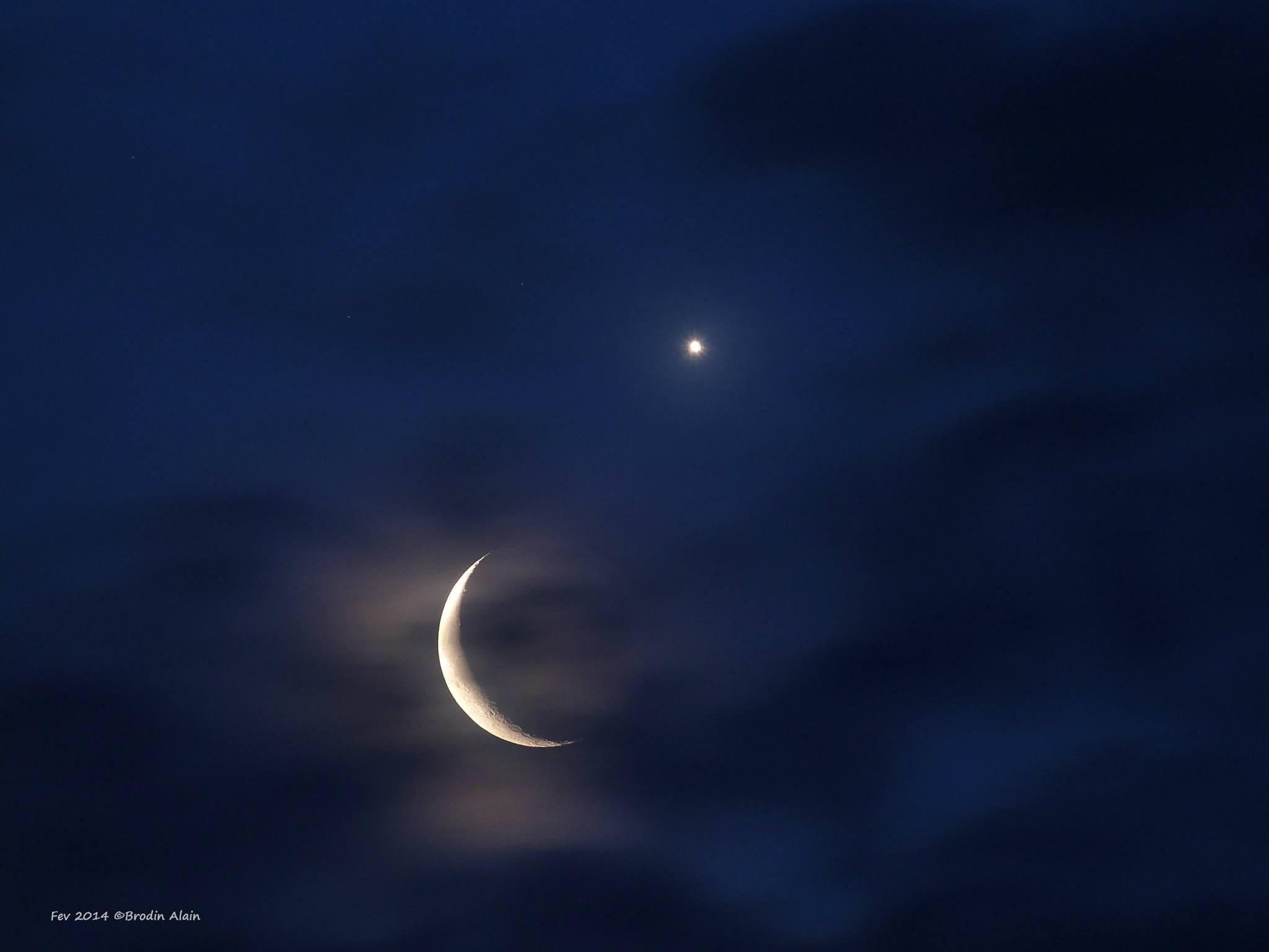 Rapprochement Lune et Vénus ce matin du 26 02 2014 à 06h51