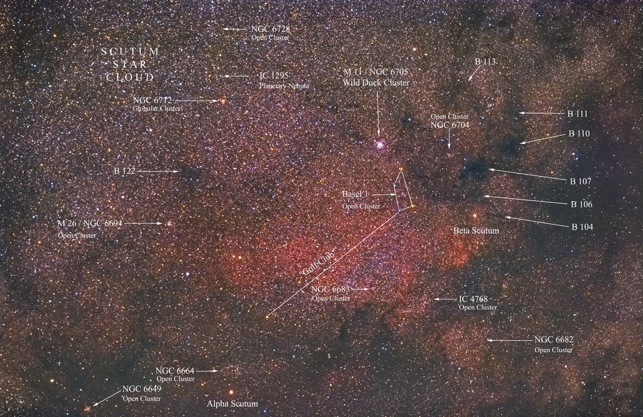 Constellation Ecu de Sobieski (Scutum) annotée