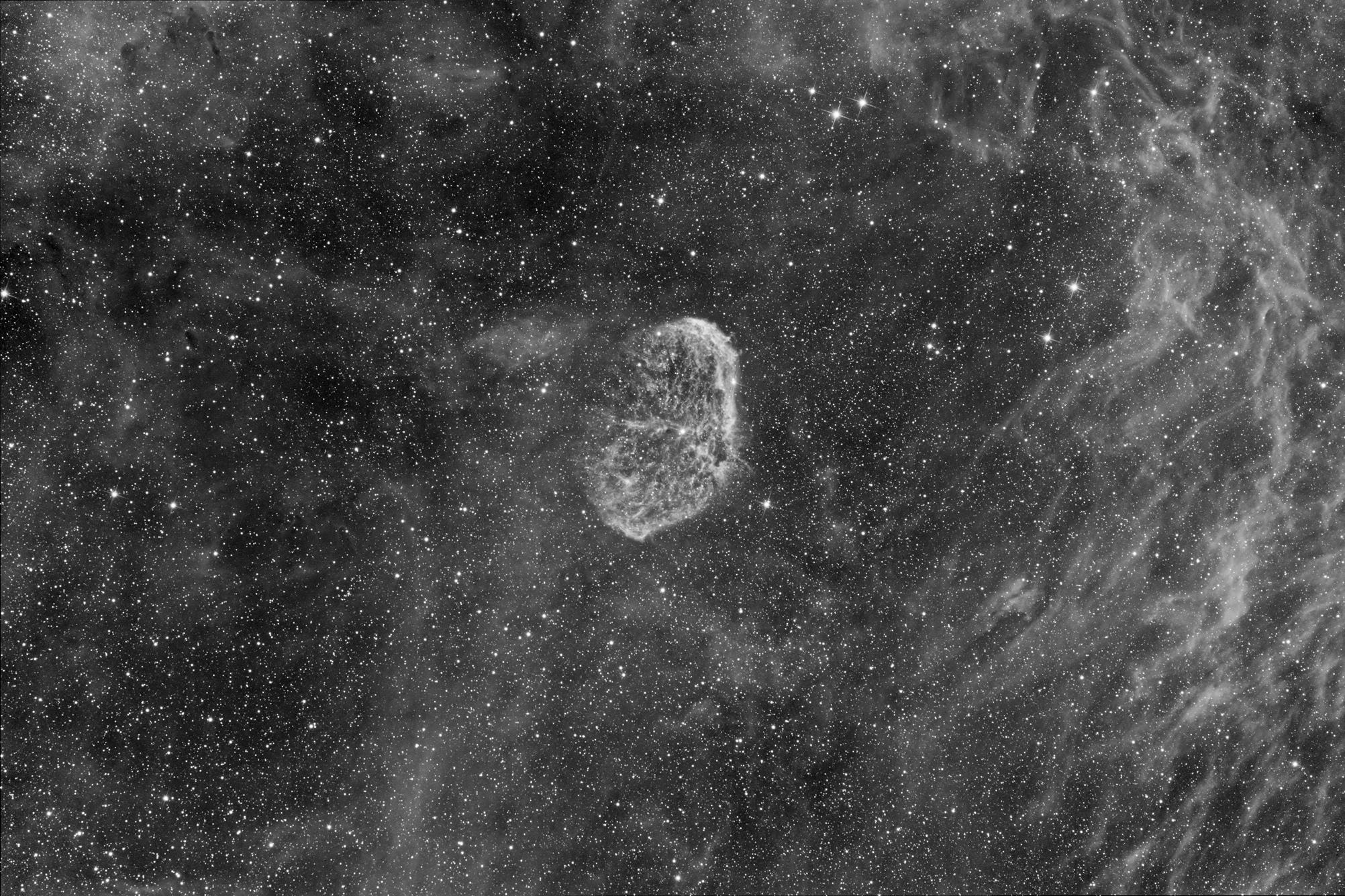 Champ de la nébuleuse du croissant (NGC6888) en H-Alpha