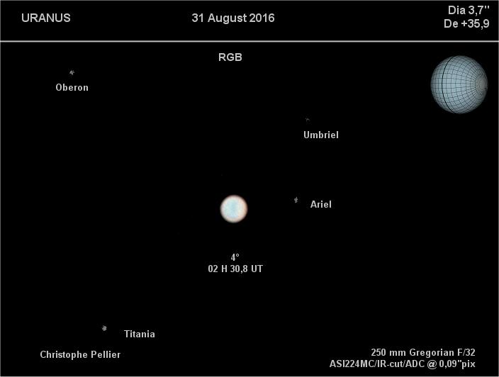 Uranus en vraies couleur 31 août 2016