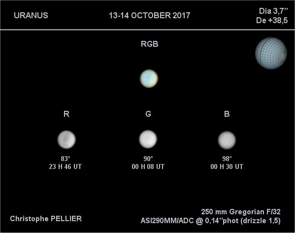 Uranus 14 octobre 2017 - trichromie RVB