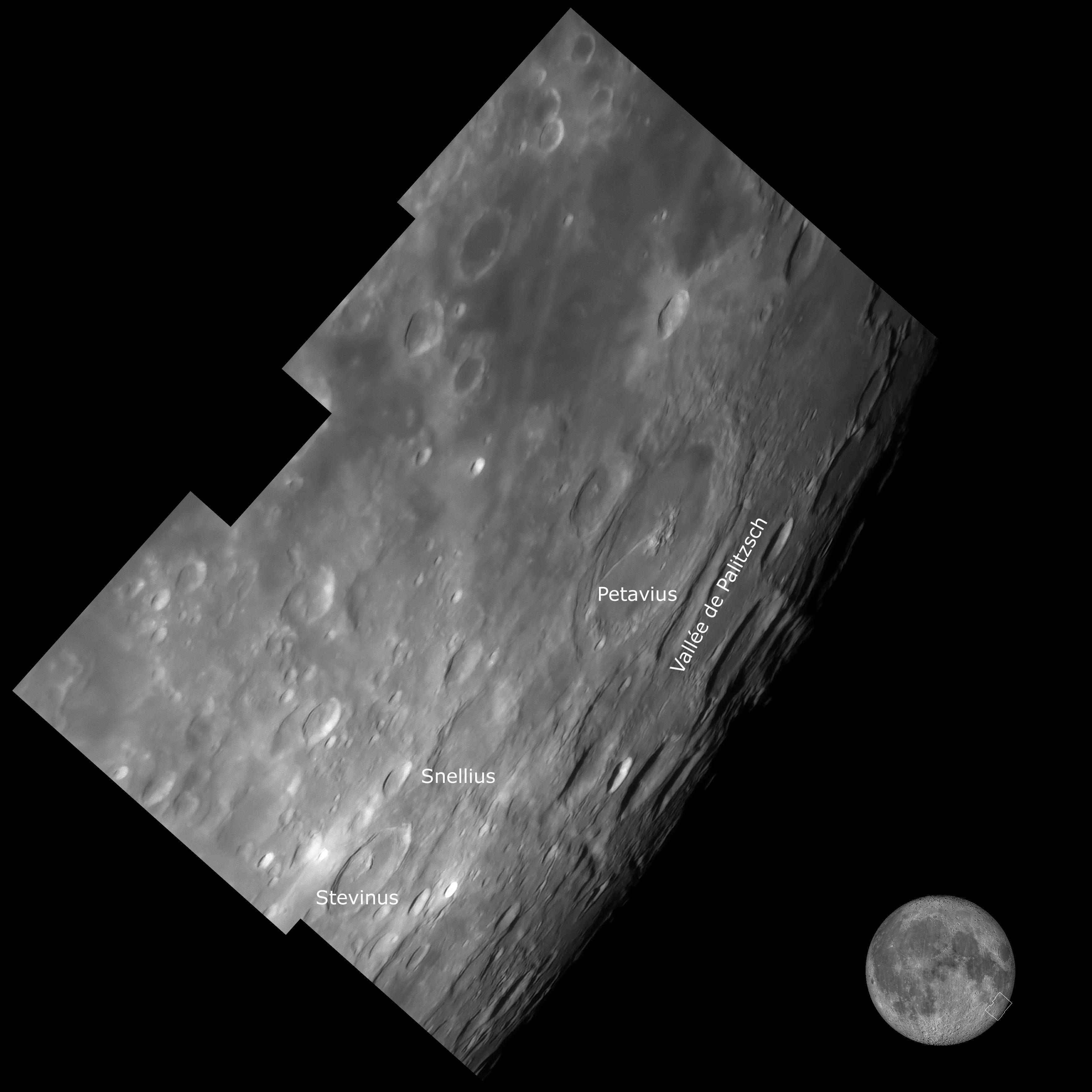 Région du cratère Petavius, au 355 mm, anotée