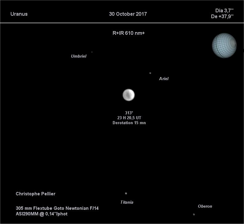 Uranus au Flextube 305 - dérotation altazimutale WinJupos