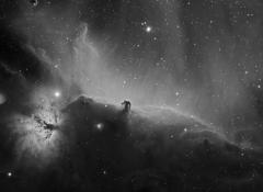 Ic 434 : nébuleuse obscure de la Tête de Cheval et NGC 2024 : nébuleuse de la flamme