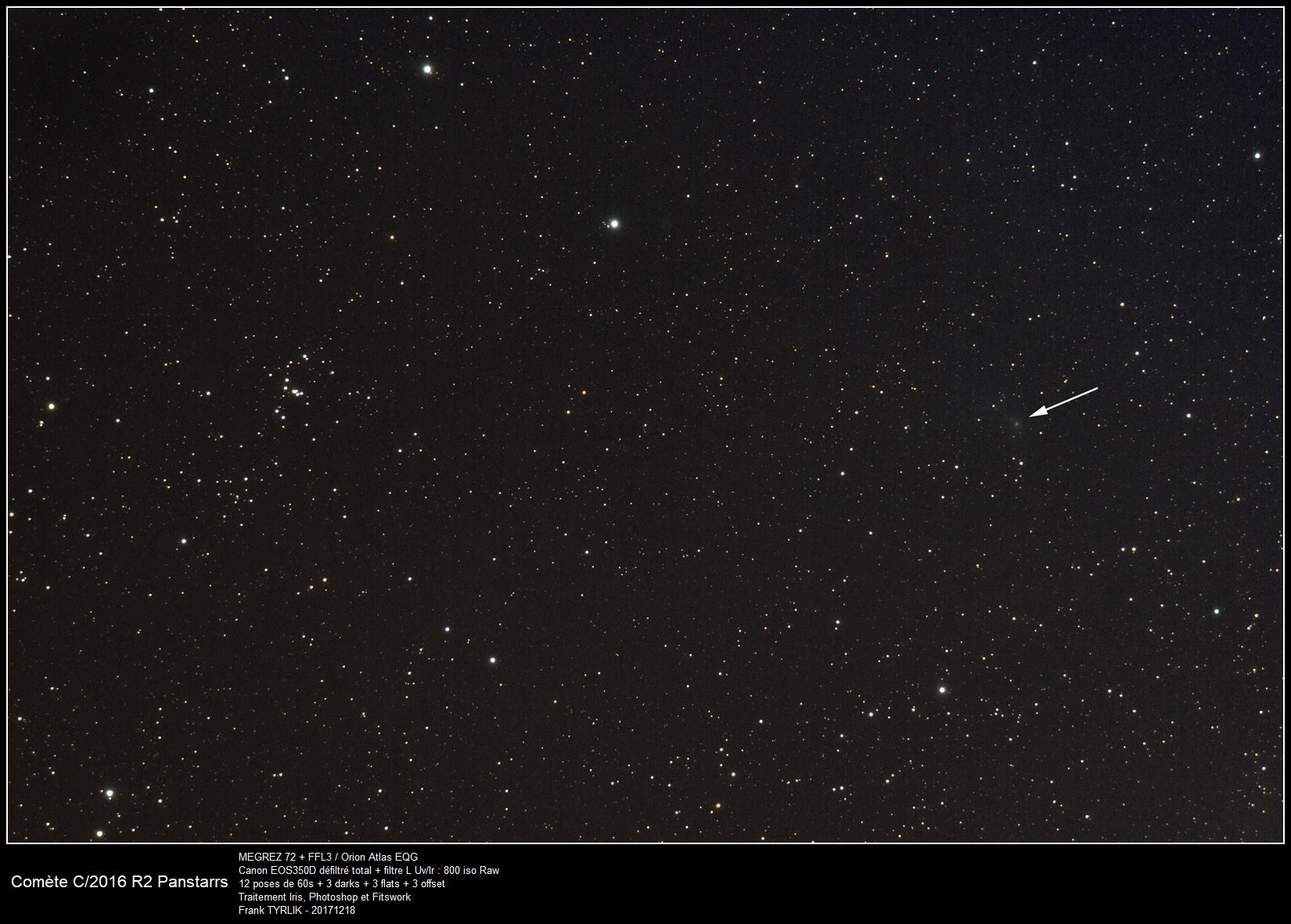 Comète C/2016 R2 Panstarrs