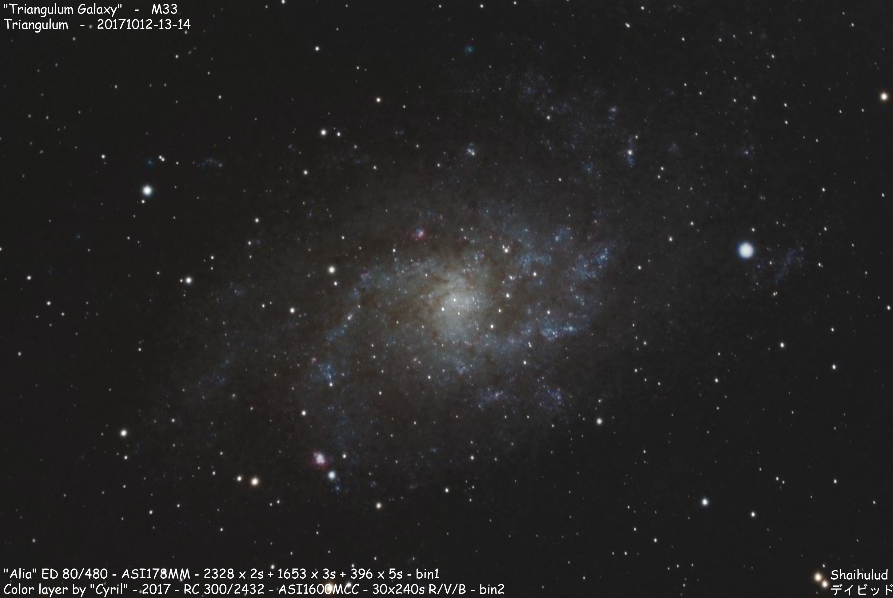 Triangulum Galaxy M33 (Shot from the city center of Reims)