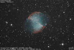 Dumbbell Nebula M27 (Shot from the city center of Reims)