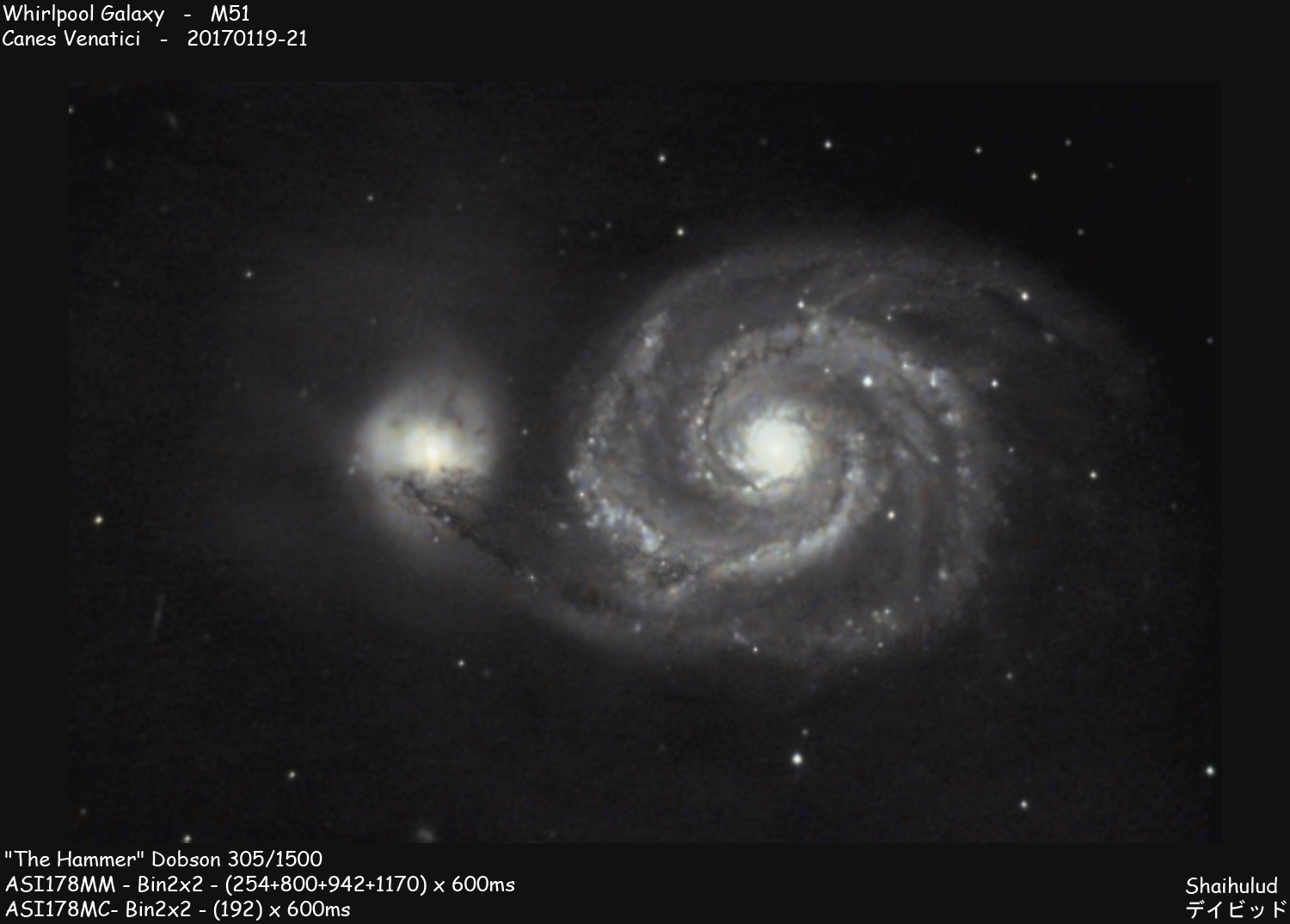 Whirlpool Galaxy M51 (Shot from the city center of Reims)