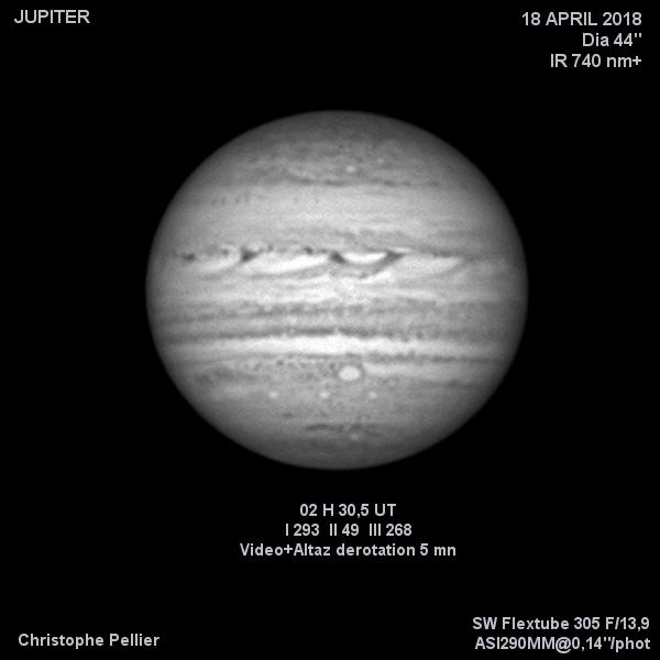Jupiter en infrarouge le 18 avril 2018, avec l'oval BA au méridien.