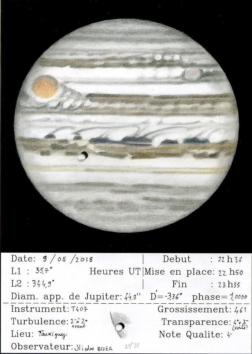 Jupiter le 9 mai au soir aux NATs, jour de l'opposition, par bon seeing au T407x461