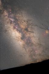 La voie lactée, ses nébuleuses, et la montagne, depuis La Palma aux Canaries, près des observatoires à 2400m.