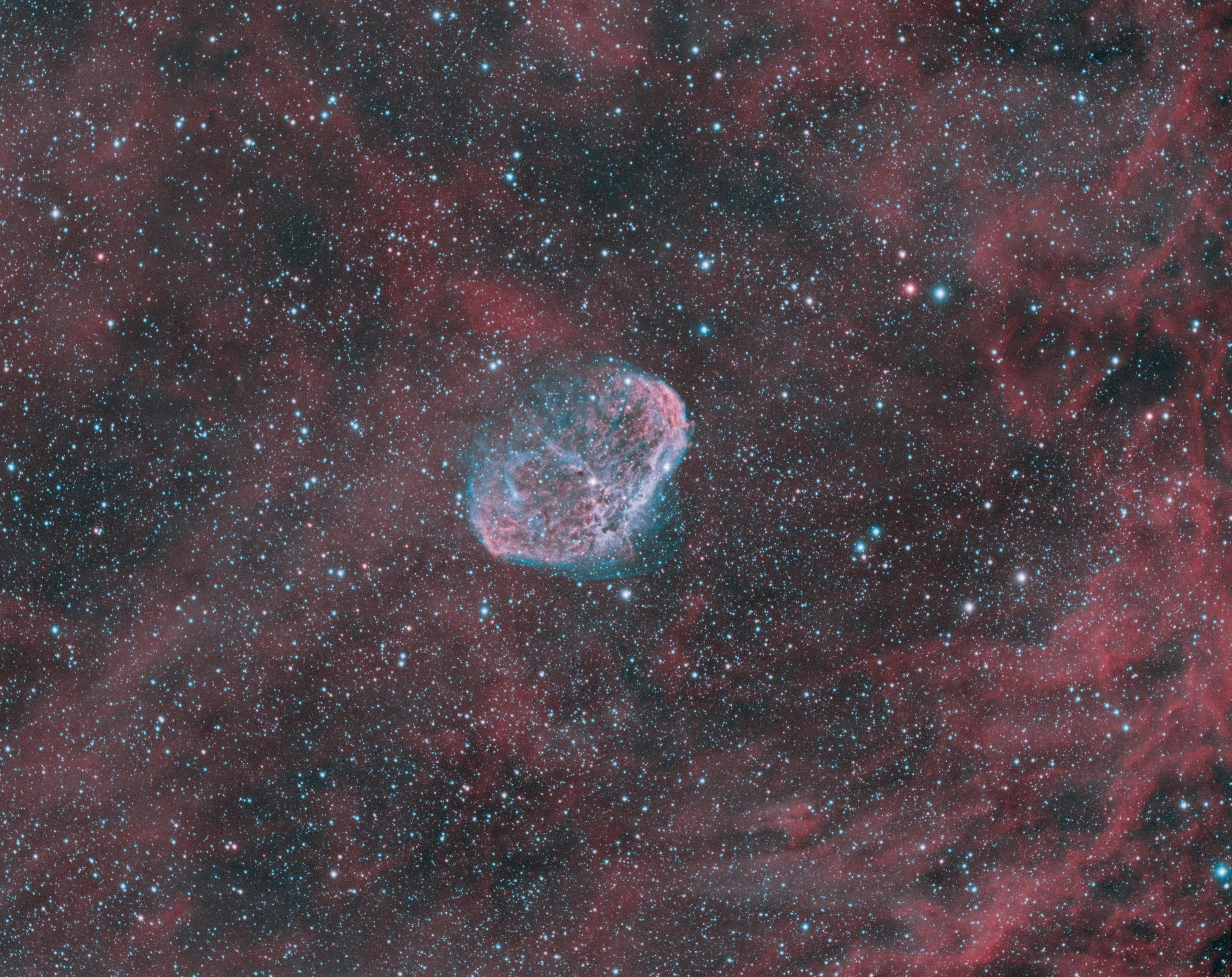 Le croissant (NGC6888) en palette HOO