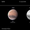 Mars le 13 juin, avec un nouveau nuage de poussières dans Daedalia