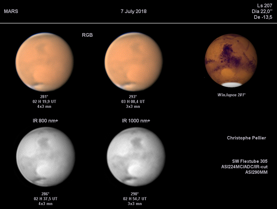 La tempête globale de poussières, hémisphère de Syrtis Major/Hellas