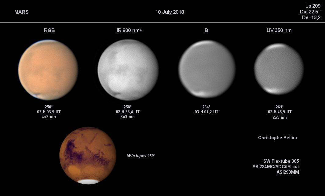 La tempête sur Mars le 10 juillet, de l'IR jusqu'à l'UV
