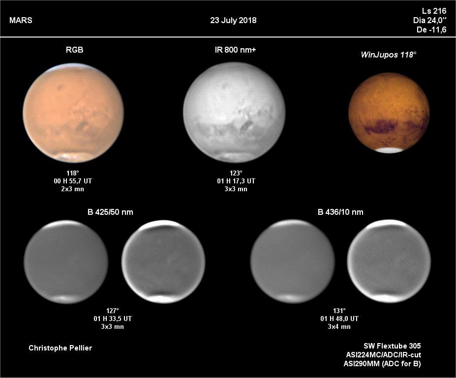 """Mars le 23 juillet 2018, fin des tempêtes, diamètre à 24"""""""