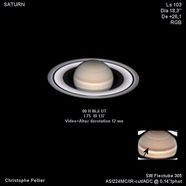 Saturne du 7 juillet 2018, bon seeing