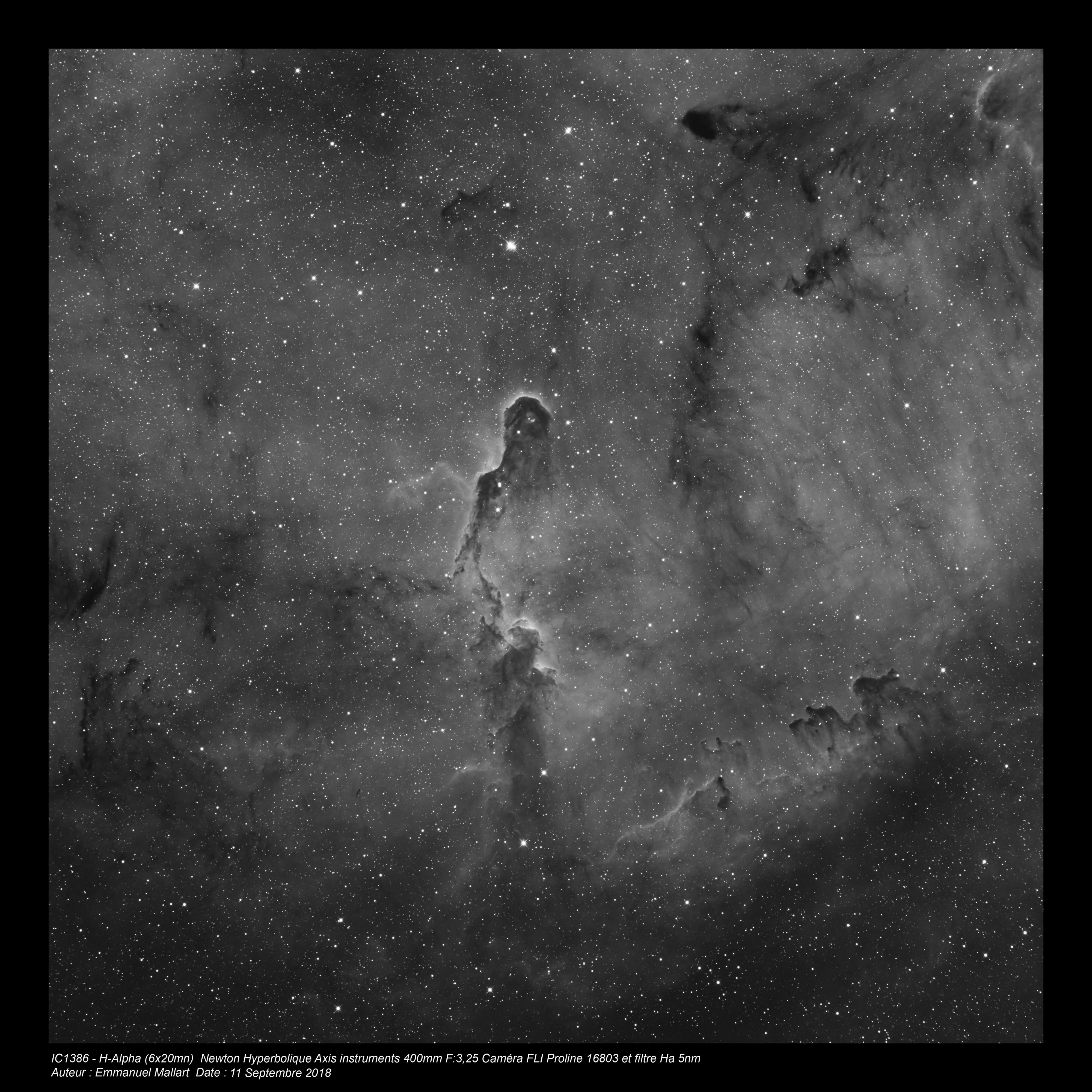 IC1396 en Halpha - Newton hyperbolique de 400mm