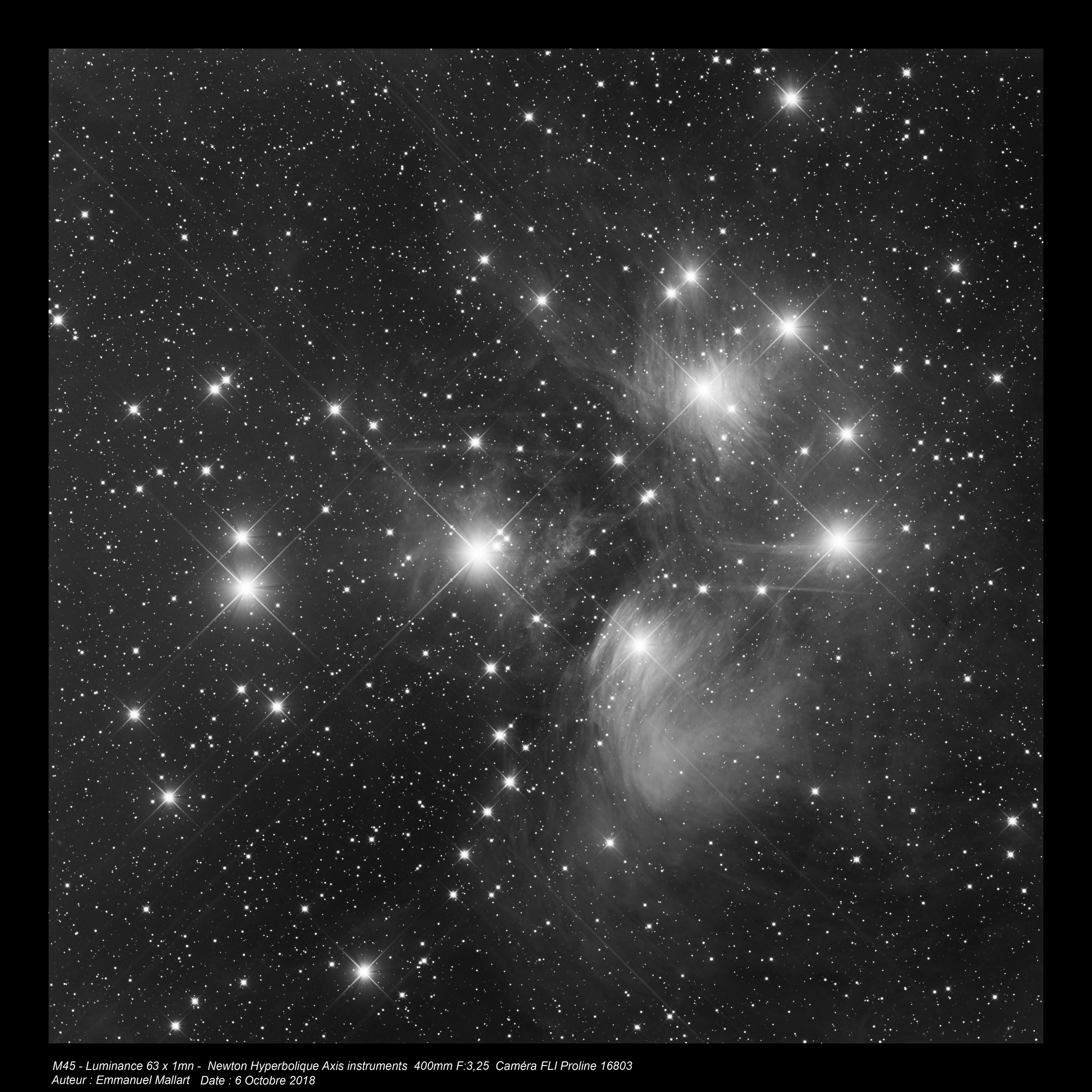 M45 - 1h de luminance - Newton hyperbolique de 400mm