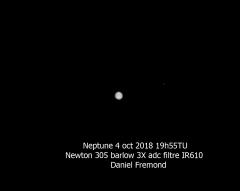 Neptune et Triton en IR le 2018-10-04  19h55TU