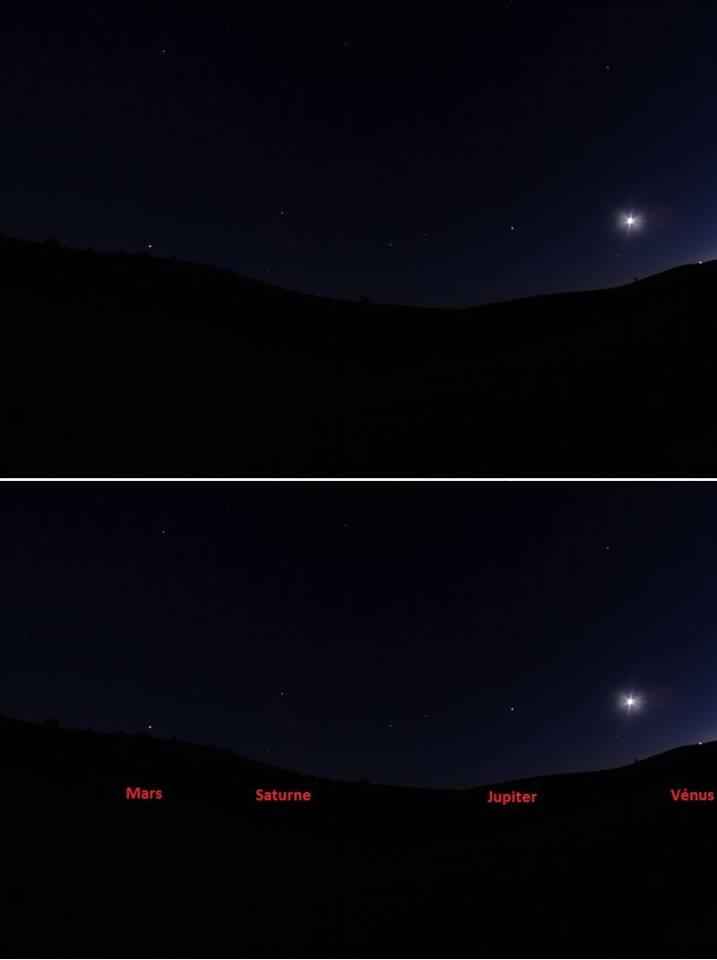 Conjonction Lune et 4 planètes du 15/08/2018