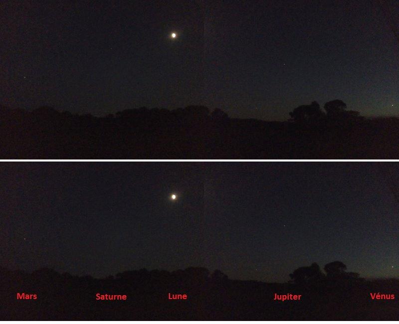 Conjonction Lune et 4 planètes du 20/08/2018