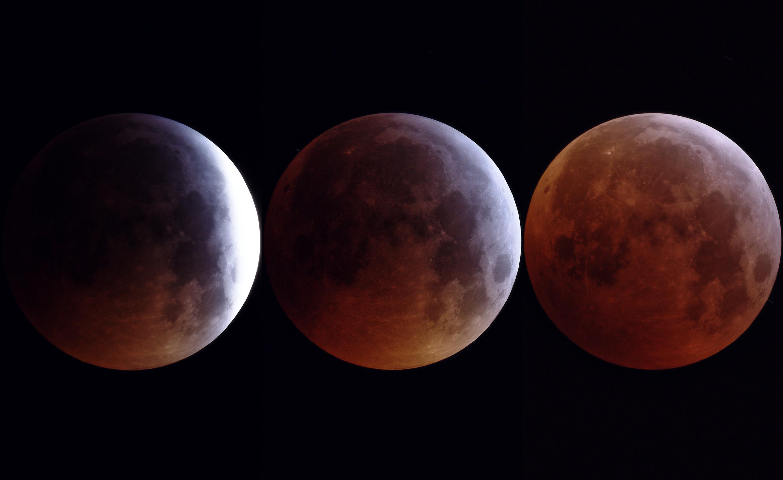 L'éclipse de lune du 21 Janvier, Lunette Takahashi de 76mm et Nikon D810 sur trépied, à 5h34, 5h45 et 6h13