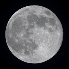 Super Pleine Lune du 19 Février, au Nikon D810 derrière une Fluorite de 76mm sur trépied