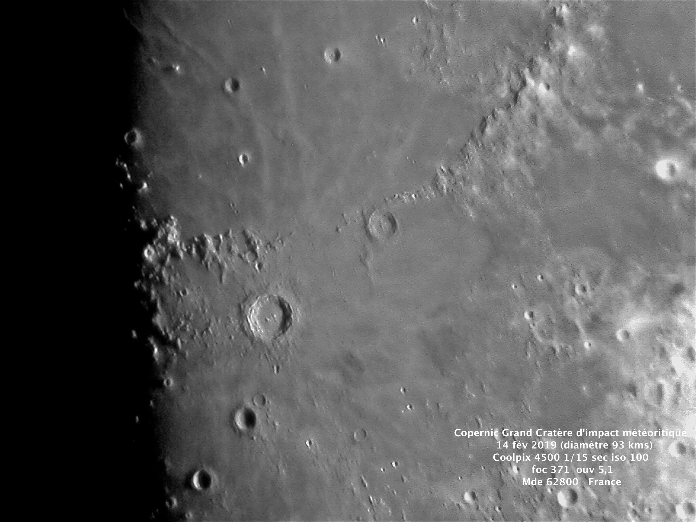 Lune cratère Copernic  14 fév 19