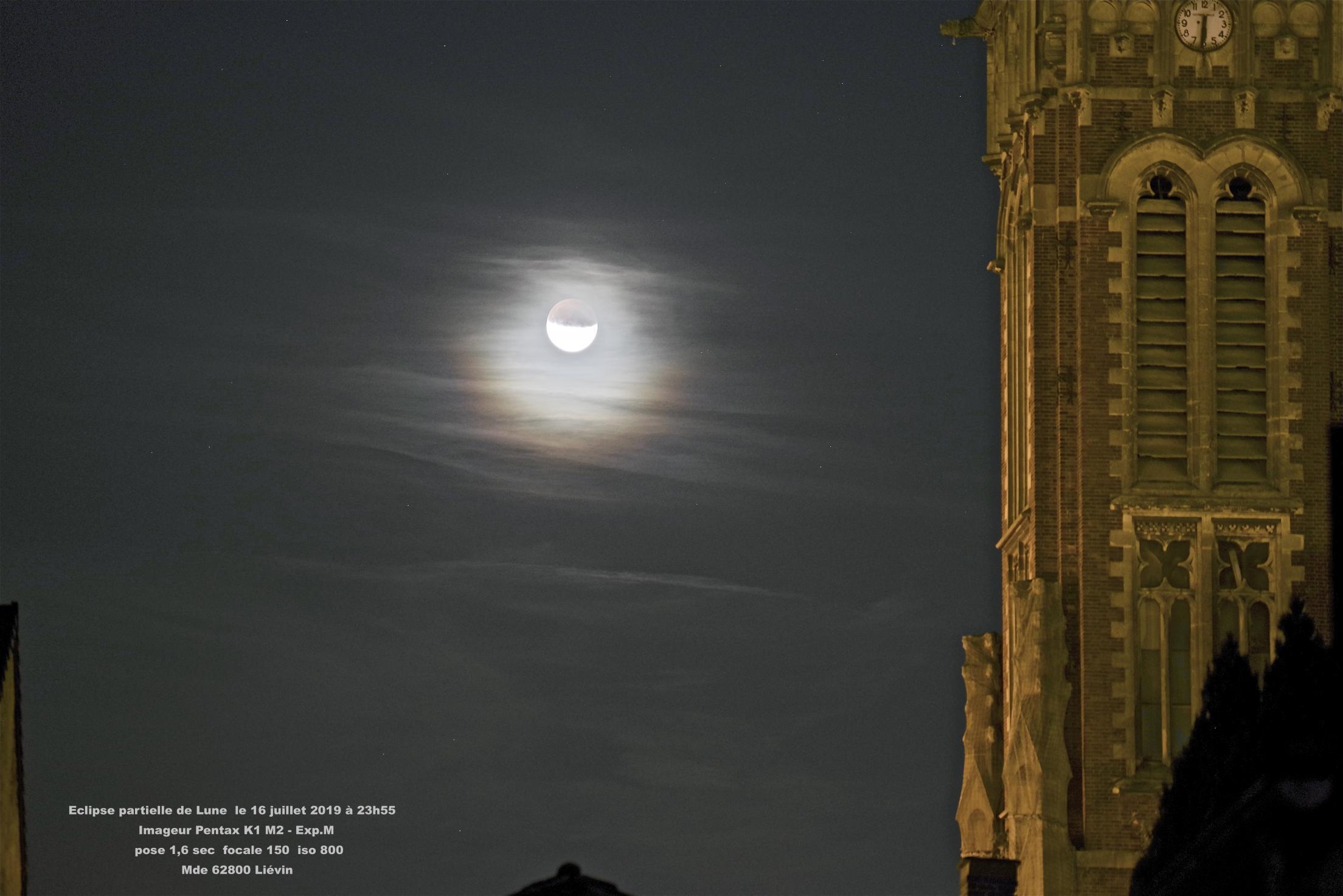 éclipse partielle de lune 16 juillet 2019