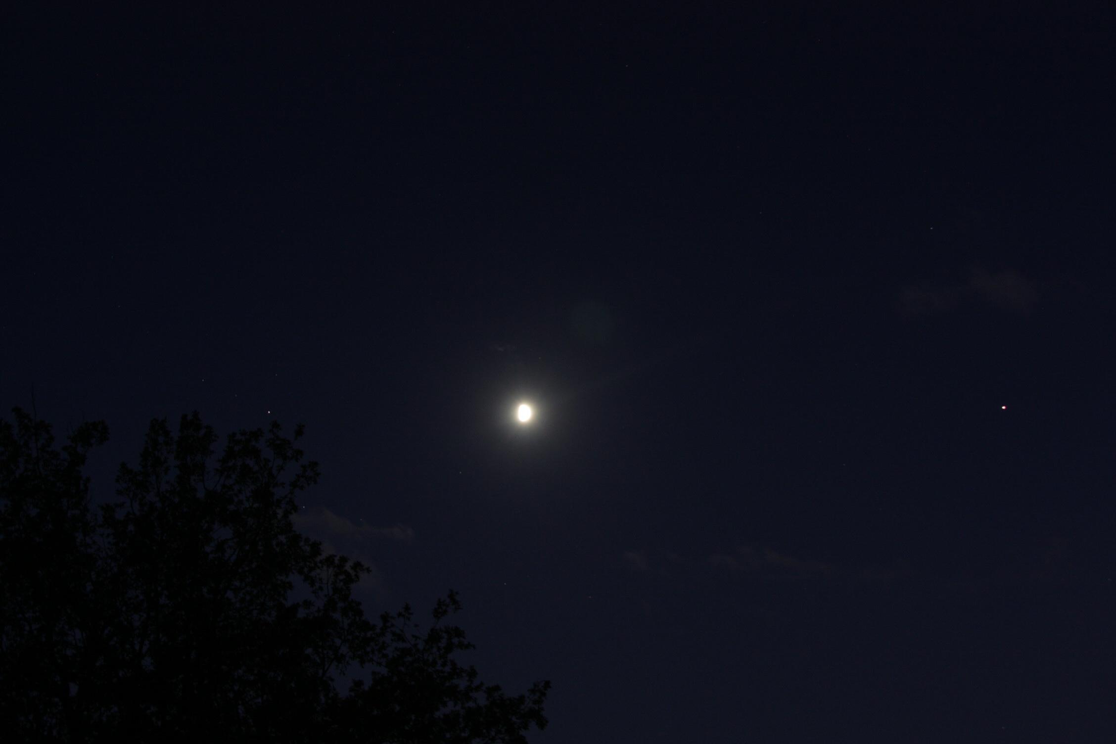 La Lune, Saturne et Jupiter