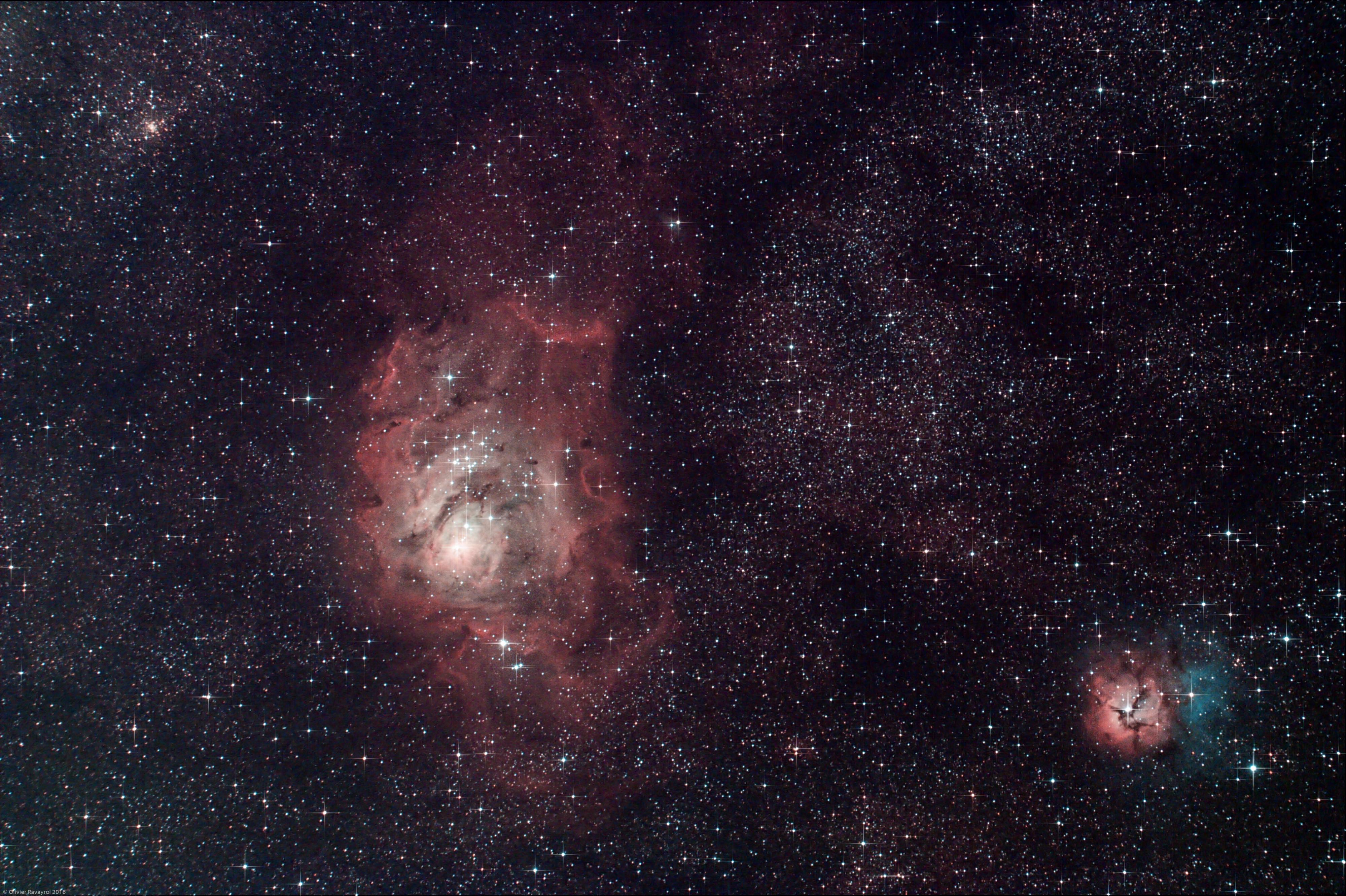 M8 & M20 - Nébuleuses du Lagon et Trifide (L-RGB)