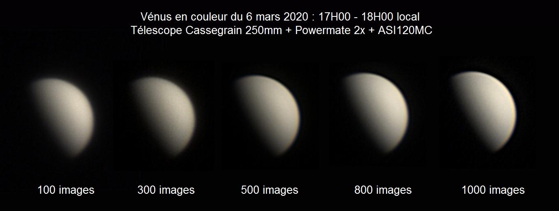Vénus en couleur au Cassegrain 250mm et ASI120MC + Powermate 2x du 6 mars 2020