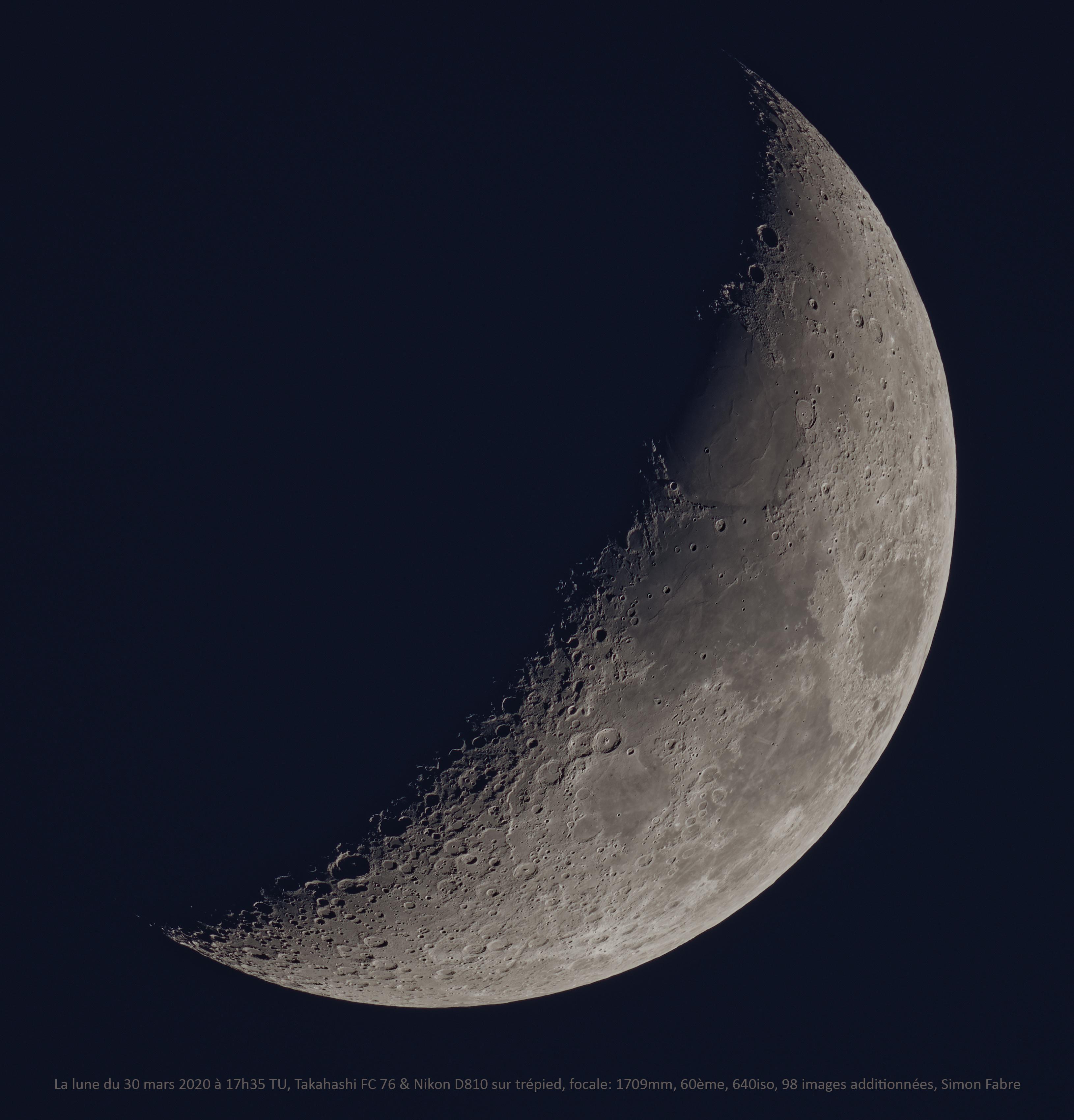 La lune du 30 Mars 2020, Taka FC76, Nikon D810 sur trépied photo
