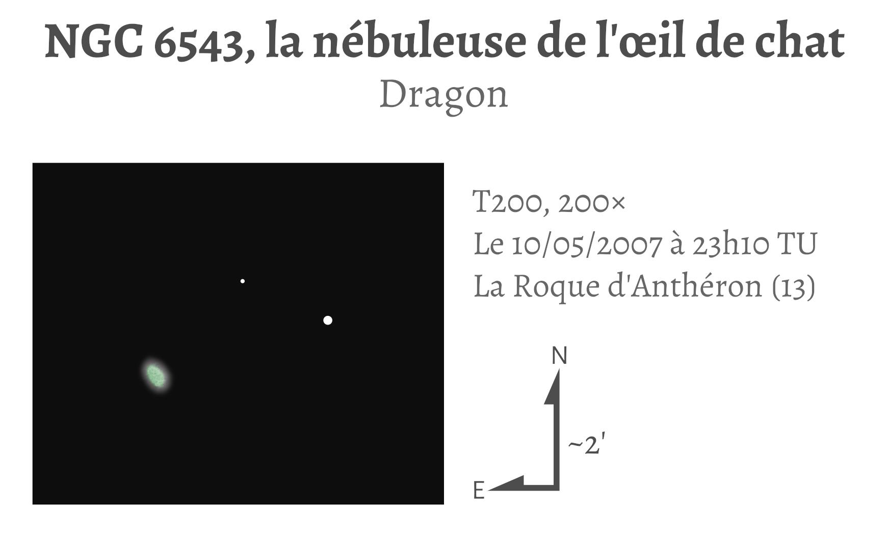NGC 6543, la nébuleuse de l'œil de chat (T203, 200×)