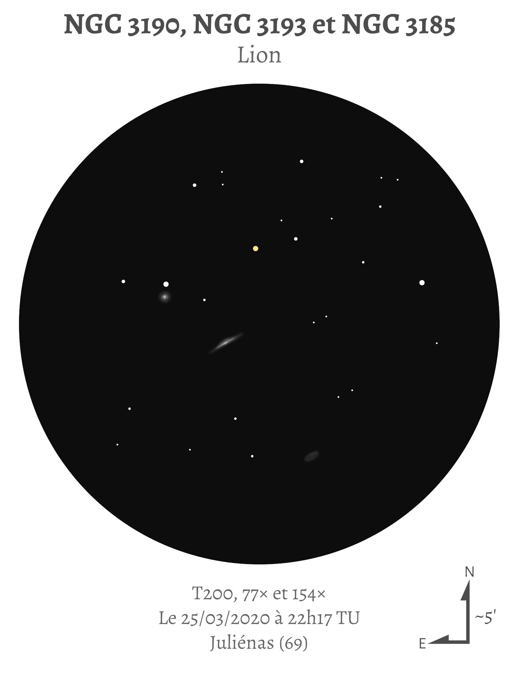 NGC 3190, NGC 3193 et NGC 3185 (Hickson 44) au T200