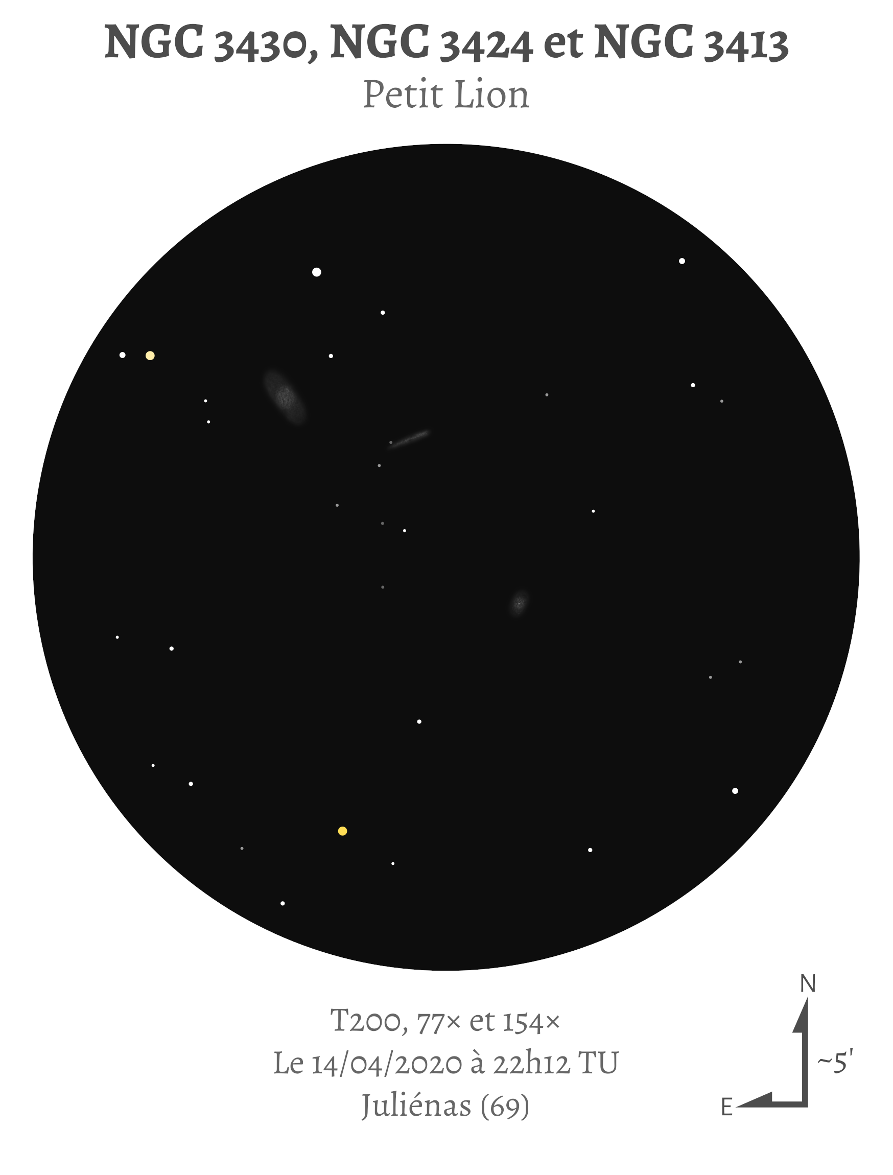 NGC 3430, NGC 3424 et NGC 3413 au T200