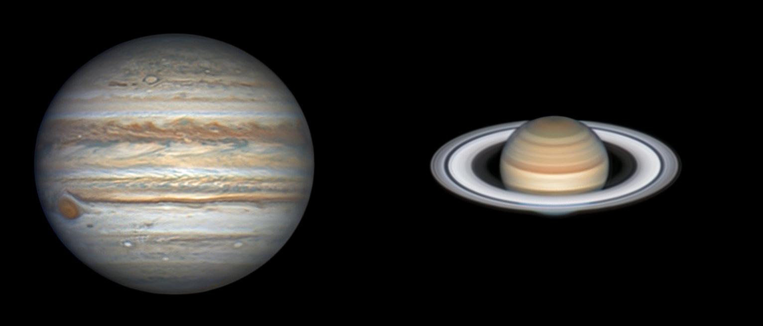 Jupiter et Saturne le 22 juilelt / Mewlon 300.