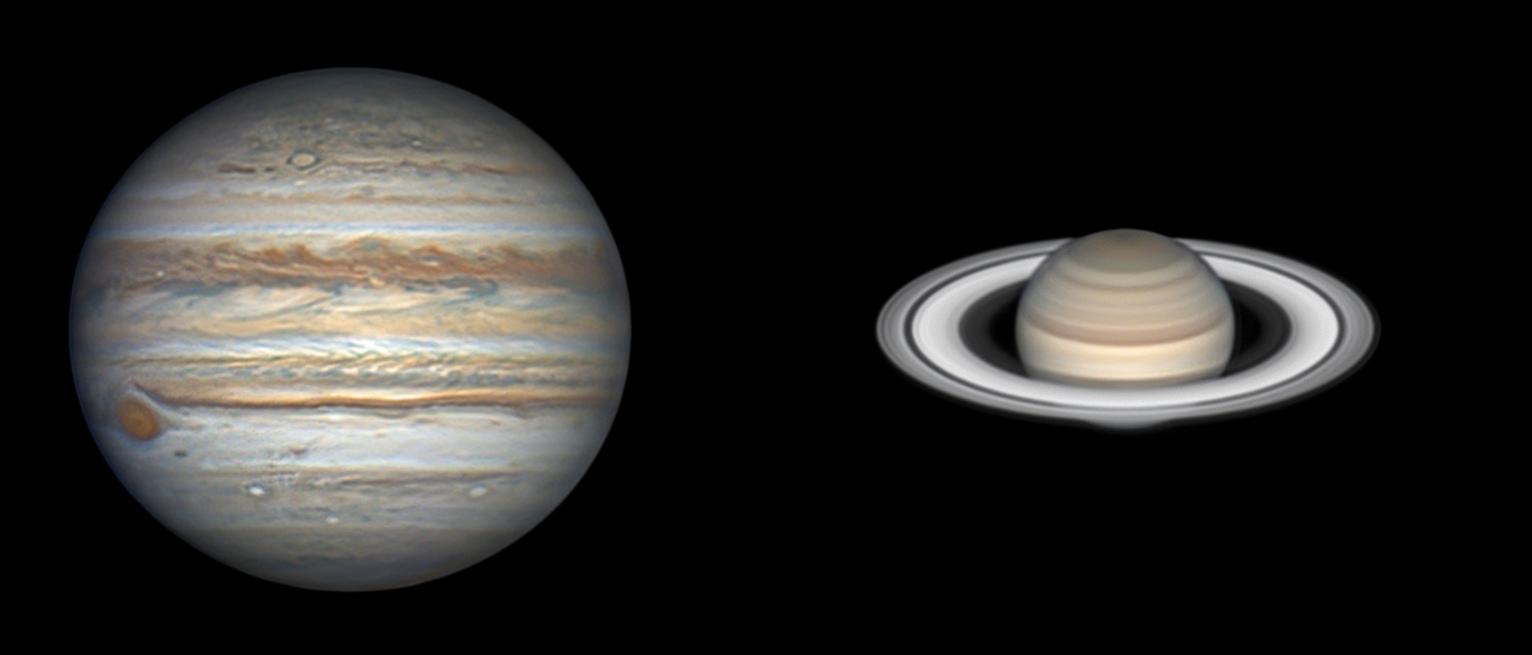 Jupiter et Saturne le 22 juillet au Mewlon 300.