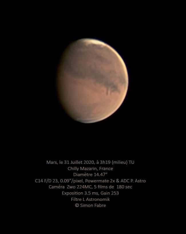 Mars le 31 Juillet au C14, caméra Zwo 224c
