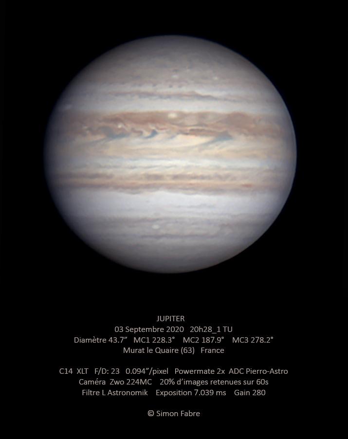 Jupiter du 03 Septembre 2020 au C14